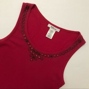 Pink Ribbed Tank Top with Detailed Neckline